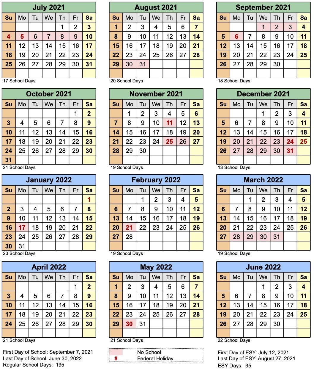 OASIS calendar for the 2020-2021 school year